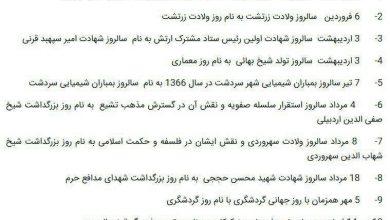 تصویر از زرتشت، شیخصفیالدین اردبیلی و سهرودی وارد تقویم رسمی کشور شدند