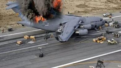 تصویر از سقوط یک هواپیمای ترابری نظامی آمریکا در عراق