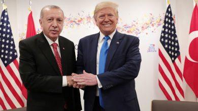 تصویر از اردوغان دست به دعا برای پیروزی ترامپ در رقابت با بایدن شده است