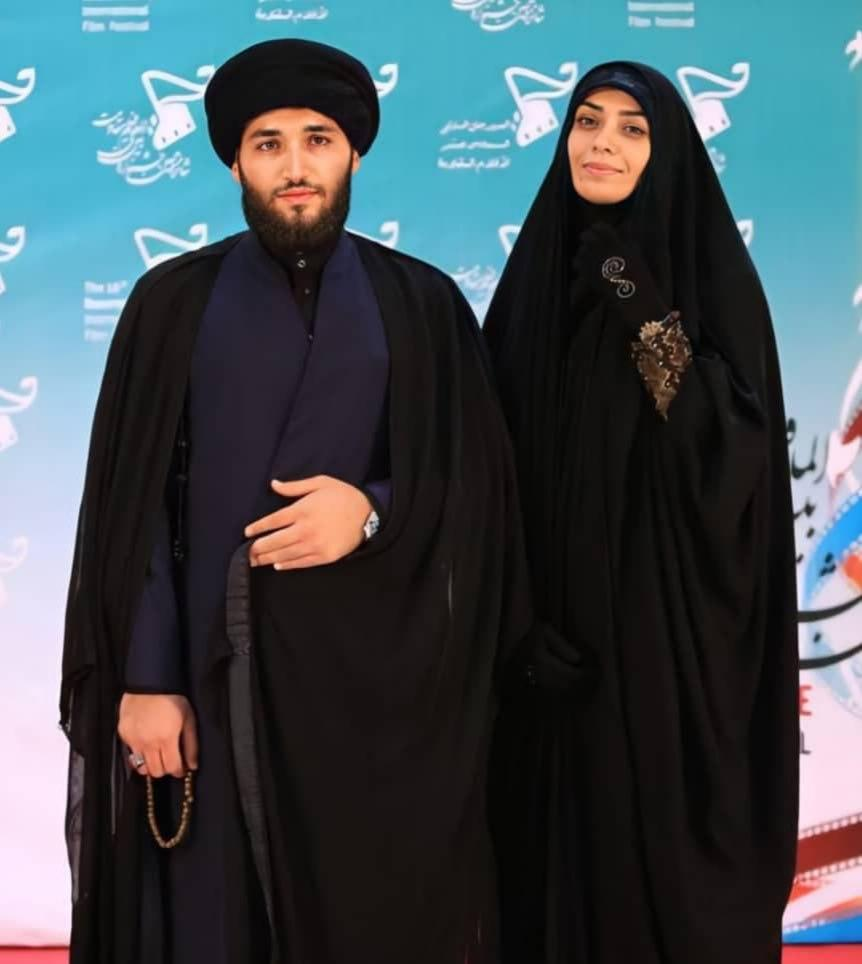 عکس الهام چرخنده و همسرش