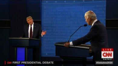 تصویر از نخستین مناظره انتخاباتی ترامپ و بایدن برگزار شد